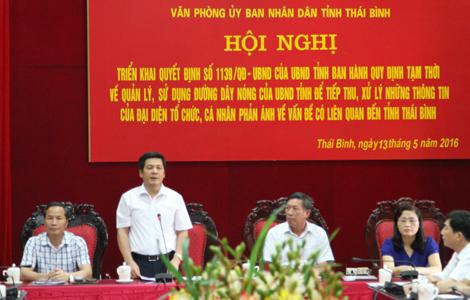 Thái Bình tổ chức Hội nghị công bố đường dây nóng của UBND tỉnh