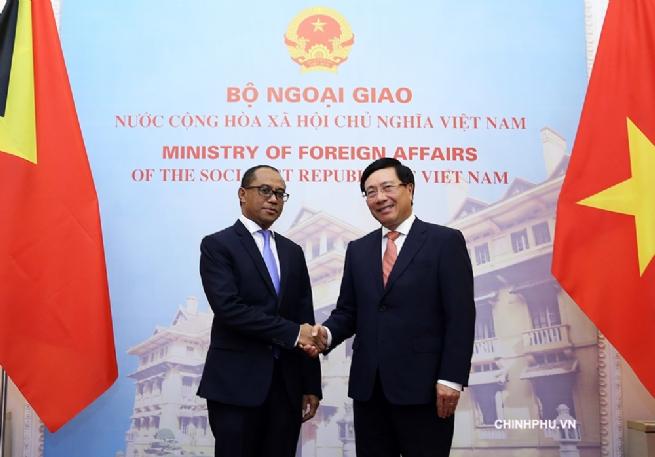 Phó Thủ tướng Phạm Bình Minh hội đàm với Bộ trưởng Ngoại giao và Hợp tác Timor-Leste