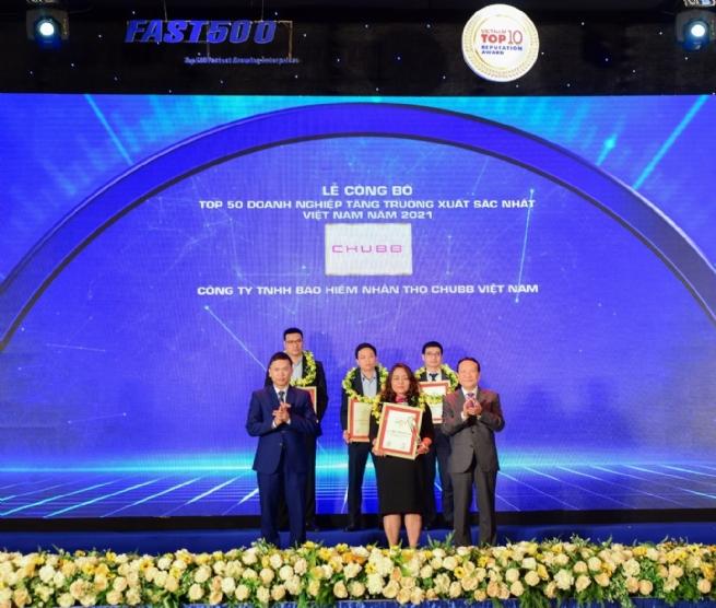 """Chubb Life vào """"Top 50 doanh nghiệp tăng trưởng xuất sắc nhất Việt Nam năm 2021"""""""